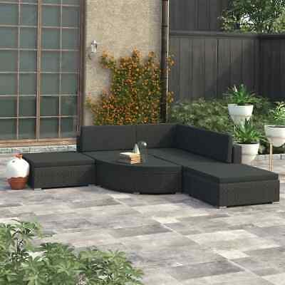 vidaXL 6x Garden Lounge Set with Cushions Poly Rattan Black