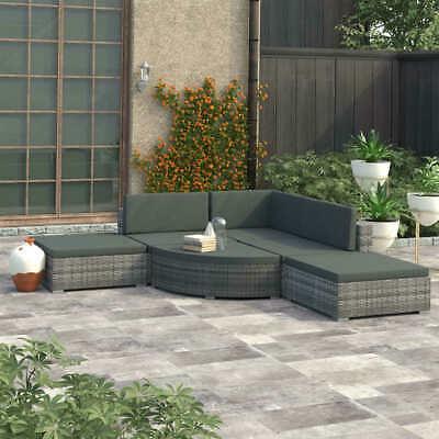 vidaXL 6x Garden Lounge Set with Cushions Poly Rattan Grey