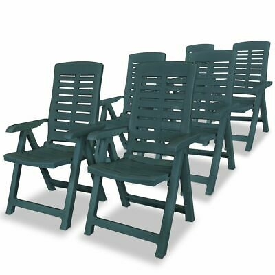 vidaXL 6x Reclining Garden Chairs 60x61x108cm Plastic Green