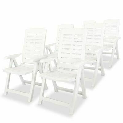 vidaXL 6x Reclining Garden Chairs 60x61x108cm Plastic White
