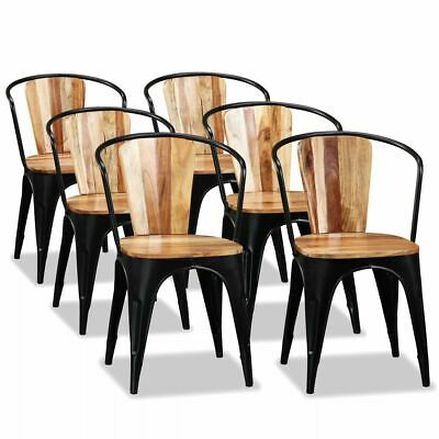 vidaXL 6x Solid Acacia Wood Dining Chairs Home Kitchen
