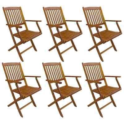 vidaXL 6x Solid Acacia Wood Folding Outdoor Chairs Garden