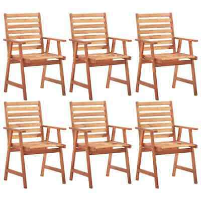 vidaXL 6x Solid Acacia Wood Outdoor Dining Chairs Garden