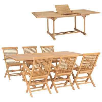 vidaXL 7 Piece Solid Teak Wood Outdoor Dining Set
