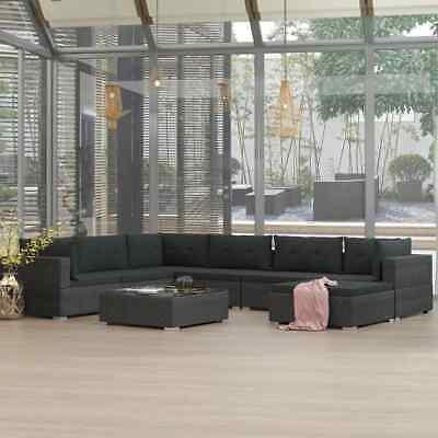 vidaXL 8x Garden Lounge Set with Cushions Poly Rattan Black
