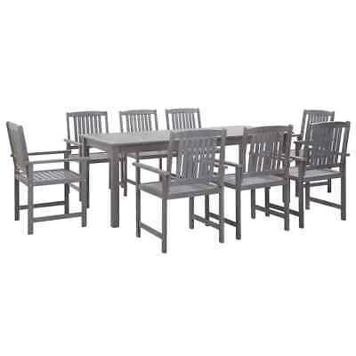 vidaXL 9 Piece Solid Acacia Wood Outdoor Dining Set Grey