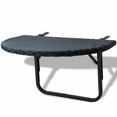 vidaXL Balcony Table Poly Rattan Black Outdoor Side Coffee
