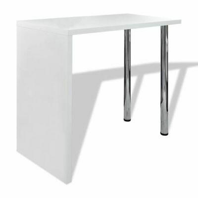 vidaXL Bar Table MDF with 2 Steel Legs High Gloss White