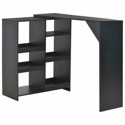 vidaXL Bar Table with Moveable Shelf Black Coffee Dining