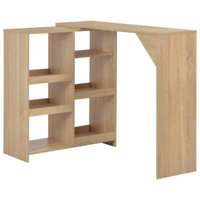 vidaXL Bar Table with Moveable Shelf Oak Coffee Dining Tall