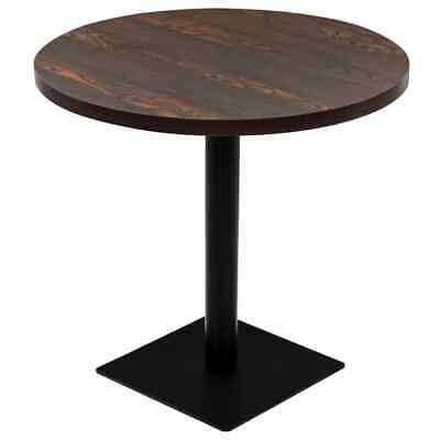 vidaXL Bistro Table MDF and Steel Round 80x75cm Dark Ash
