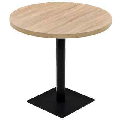 vidaXL Bistro Table MDF and Steel Round 80x75cm Oak Colour