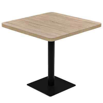 vidaXL Bistro Table MDF and Steel Square 80x80x75cm Oak