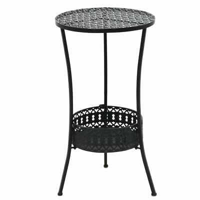 vidaXL Bistro Table Vintage Style Round Metal 40x70cm Black