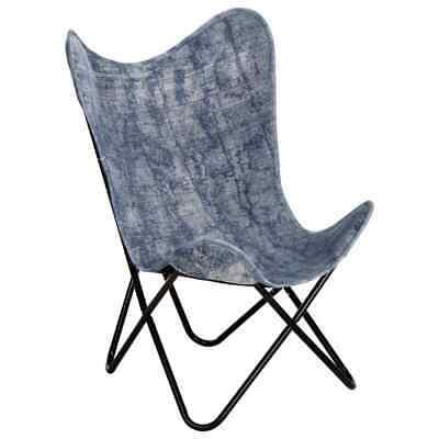 vidaXL Butterfly Chair Indigo Blue Canvas Home Indoor