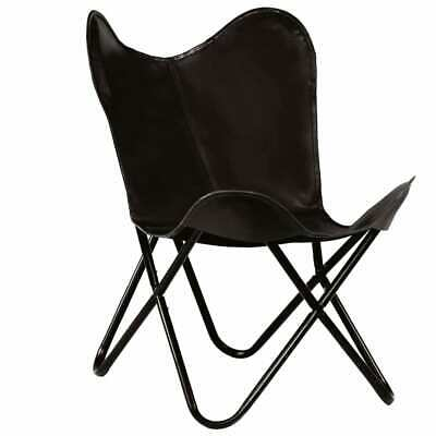 vidaXL Butterfly Chair Real Leather Black Kids Size