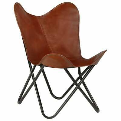 vidaXL Butterfly Chair Real Leather Brown Kids Size