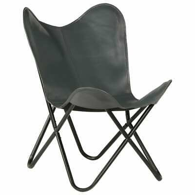 vidaXL Butterfly Chair Real Leather Grey Kids Size