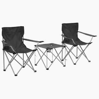 vidaXL Camping Table and Chair Set 3 Piece Grey Portable