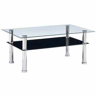 vidaXL Coffee Table Black 100cm Tempered Glass Home Side End