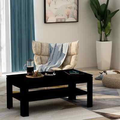 vidaXL Coffee Table Black 110cm Chipboard Living Room Side