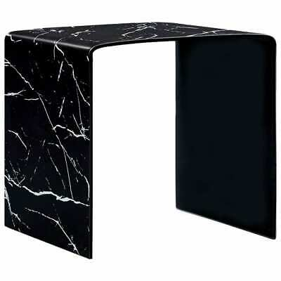 vidaXL Coffee Table Black Marble 50cm Tempered Glass Side