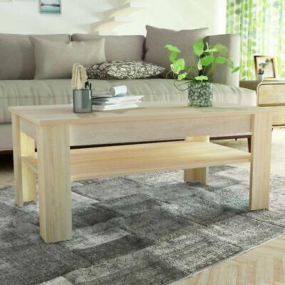 vidaXL Coffee Table Chipboard 110x65x48cm Oak Side Living
