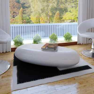 vidaXL Coffee Table Fibre Glass High Gloss White Home Living