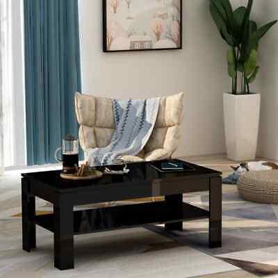 vidaXL Coffee Table High Gloss Black 110cm Chipboard Living
