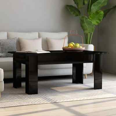 vidaXL Coffee Table High Gloss Black Chipboard Home Couch