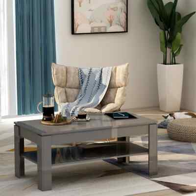 vidaXL Coffee Table High Gloss Grey 110cm Chipboard Living