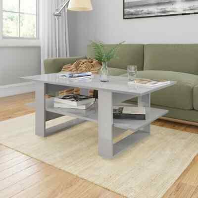 vidaXL Coffee Table High Gloss Grey Chipboard End Side
