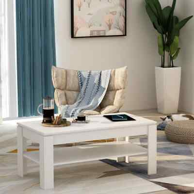 vidaXL Coffee Table High Gloss White 110cm Chipboard Living