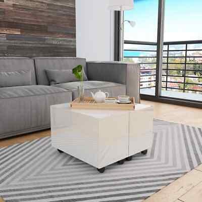 vidaXL Coffee Table High Gloss White 60cm Chipboard Living