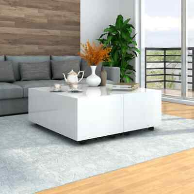 vidaXL Coffee Table High Gloss White Chipboard Couch Dining