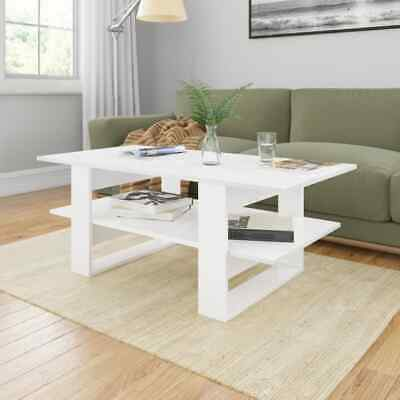 vidaXL Coffee Table High Gloss White Chipboard End Side