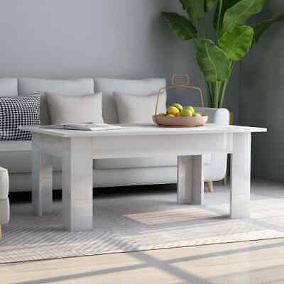 vidaXL Coffee Table High Gloss White Chipboard Home Couch