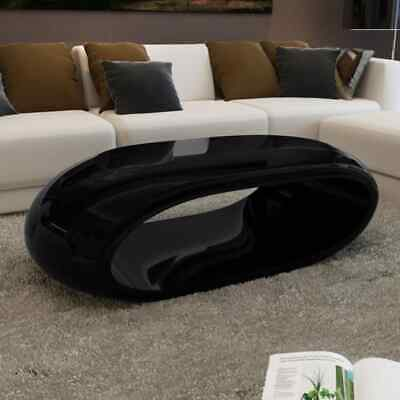 vidaXL Coffee Table Hollow High Gloss Black Plant Stand