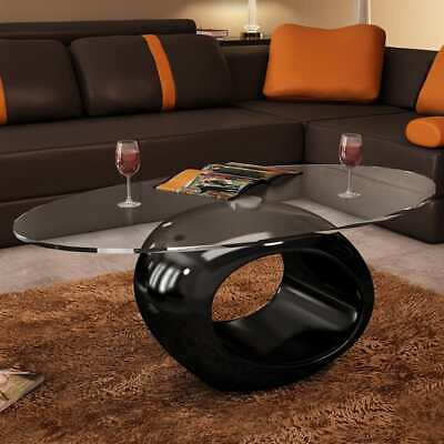 vidaXL Coffee Table Round Black High Gloss Glass Top Couch