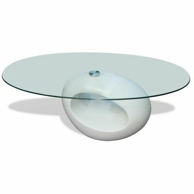 vidaXL Coffee Table Round White High Gloss Glass Top Couch
