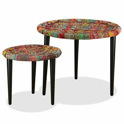 vidaXL Coffee Table Set 2 Piece Chindi Weave Details