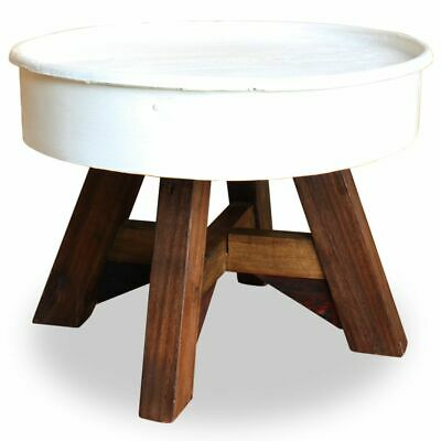 vidaXL Coffee Table Solid Reclaimed Wood 60x45 cm White~