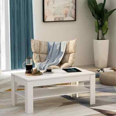 vidaXL Coffee Table White 110cm Chipboard Living Room Side