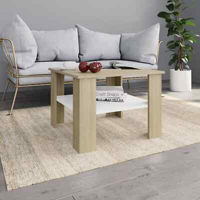 vidaXL Coffee Table White Sonoma Oak Chipboard Couch Dining