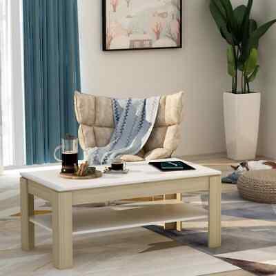 vidaXL Coffee Table White and Sonoma Oak 110cm Chipboard