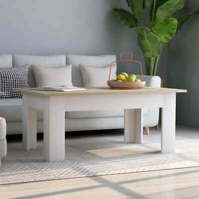 vidaXL Coffee Table White and Sonoma Oak Chipboard Couch End