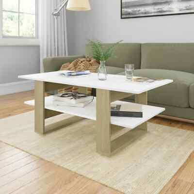 vidaXL Coffee Table White and Sonoma Oak Chipboard End Side