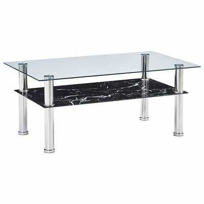 vidaXL Coffee Table with Marble Look Black 100cm Tempered