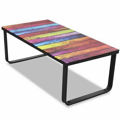vidaXL Coffee Table with Rainbow Printing Glass Top Home
