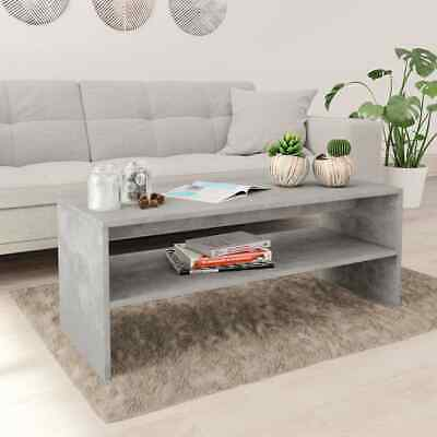vidaXL Coffee Table with a Shelf Concrete Grey Chipboard